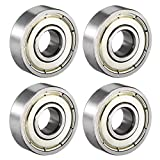 uxcell® 608ZZ Deep Groove Ball Bearing Double Shield 608-2Z 80018, 8mm x 22mm x 7mm Carbon Steel Bearings (Pack of 4)
