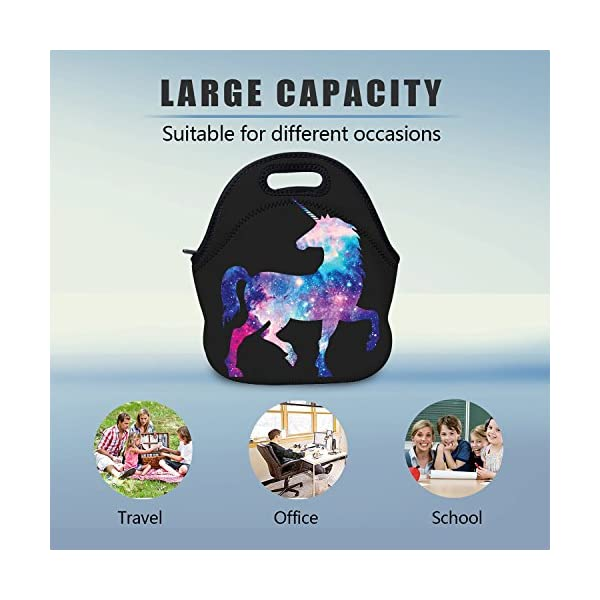 AOTIGO Unicorn Horse Galaxy Space Neoprene Lunch Bag Insulated Lunch Box Waterproof Lunch Tote Bag with Zipper for Women… 4