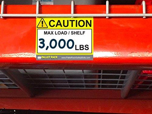Warehouse Rack Labels, Pallet Racks Capacity Labels for Warehouse Safety by Pallet Rack Safety Bolts (Image #4)