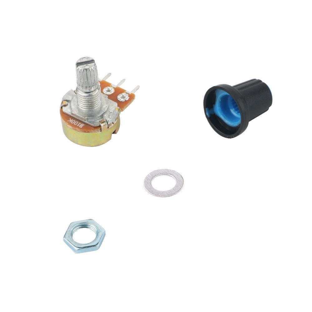 eje WH148 3Pin 15mm con tuerca y anillo de hierro y pinzas antiest/áticas RUNCCI potenci/ómetro 100k kit de potenci/ómetro rotativo de cono c/ónico
