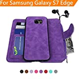 Samsung Galaxy S7 Edge Case , Modos Logicos [Detachable Wallet Folio][2 in 1][Zipper Cash Storage][Up to 14 Card Slots 1 Photo Window] PU Leather Purse with Removable Inner Magnetic TPU Case - Purple