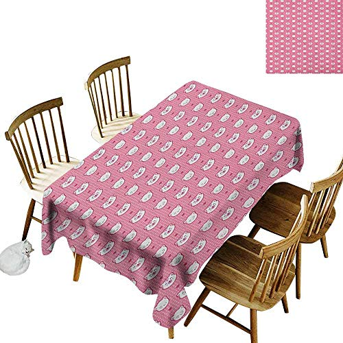 DONEECKL Cat dust-Proof Tablecloth Daily use Adorable Funny Kitten Faces Expressions Smiling Furry Cartoon Characters on Polka Dots Pink White W70 xL102