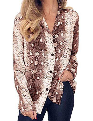 Womens Long Sleeve V Neck Snake Print Blouse Casual Loose T Shirt Top Office Lady Top Pink ()