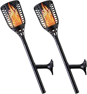 Solar Torch Lights – Weather & Waterproof Tiki Torch Lights – Solar & USB Powered Outdoor Torch Lights – Flickering Flame Torch Lights for Your Patio, Garden, & Walkway - Set of 2 Solar Torches
