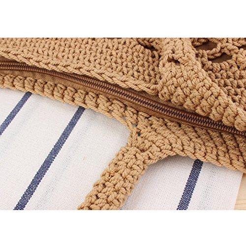 Color marrón Paja Tejido Bolso de Outflower Verano Bolso Mano de Bolso en de Sólido Playa Beige de qOwHZEH
