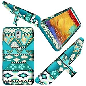 Bloutina HR Wireless Samsung Galaxy Note 3 Dynamic Cover with Stand - Retail Packaging - Mint Green Aztec/Sky Blue