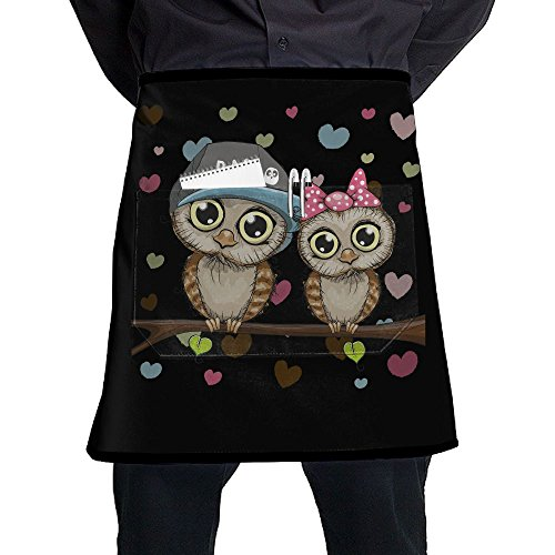 - Nicokee Chef Aprons Lovers Owl Waist Tie Half Bistro Apron Home Kitchen Cooking
