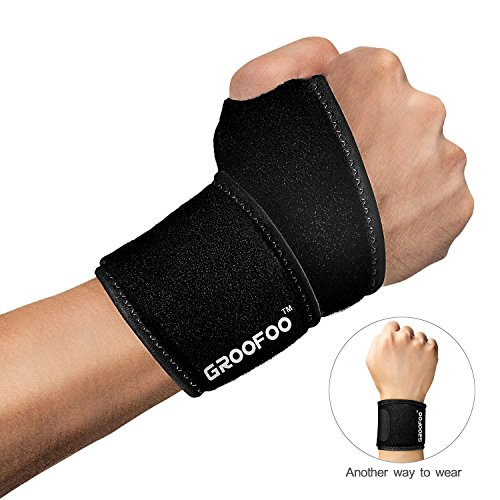 GROOFOO Adjustable Wrist Brace, Breathable Wrist Wrap with Thumb Loop for Men & Women, Neoprene Wrist Support for Weightlifting, Powerlifting, Crossfit, Strength Training, Gym Workout, Badminton, (Power Thumb Loop Wrist Wrap)