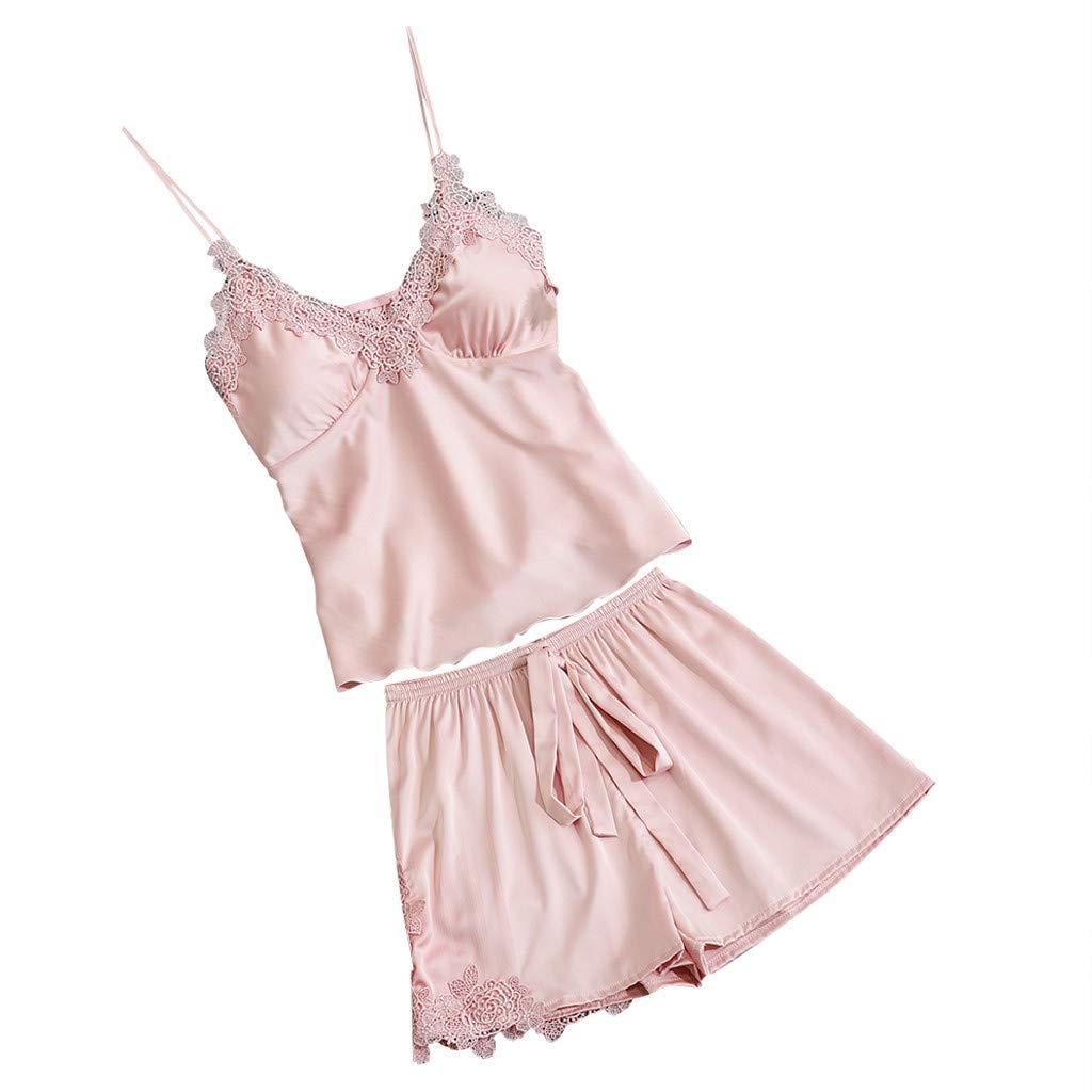 Womens Sleepwear Satin Sling Nightgowns Sleepshirts Lace Bowknot Nightdress Cami Top Pajama Sets (XXL, Pink)