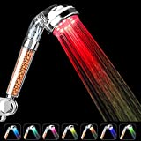 LED Shower Head, High Pressure Spa Shower Ionic Double Filter Handheld Shower Head, 30% Water Saving, Prevent Dry Skin and Hair - 7 Color Changing