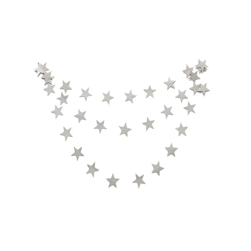 Da.Wa - Ghirlanda con bandierine  a forma di stelle, a sospensione, lunghezza: 4 m, per decorazioni di saloni per feste da matrimonio e di compleanno, per decorazioni domestiche