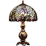 Bieye L10568 Wisteria Flowers Butterflies Tiffany Style Stained Glass Table Lamp with 12-inch Wide Lampshade - 19-inch Tall