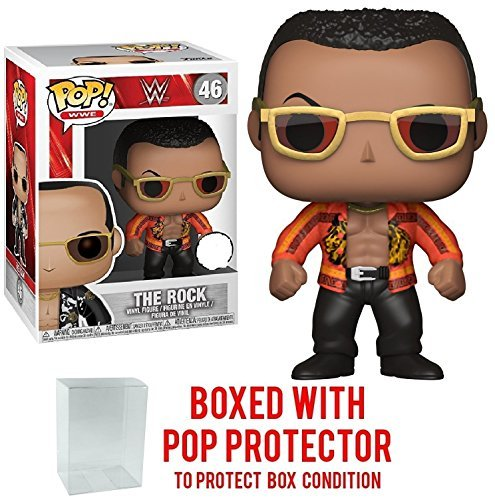 Funko Pop! WWE The Rock Old School Vinyl Figure (Bundled with Pop BOX PROTECTOR CASE) by Funko