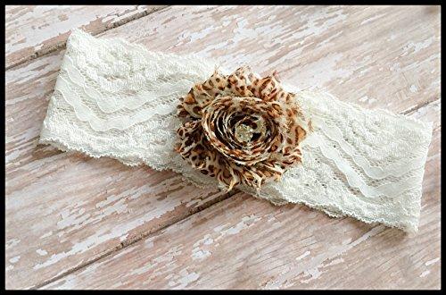 SEXY Cheetah Animal Print Ivory Shabby Flower Vintage Bling Bridal Lace Wedding Garter Keepsake