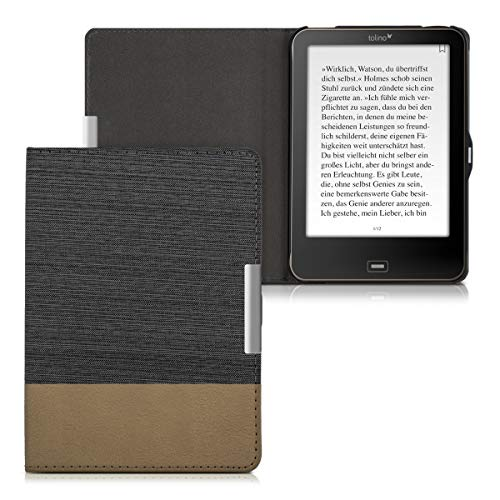 kwmobile Case for Tolino Vision 1/2 / 3/4 HD - PU Leather and Canvas Protective e-Reader Cover Folio Case - black brown