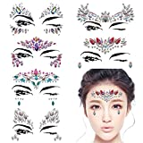 DaLin 6 Sets Mermaid Face Gems Rave Festival Face Jewels Stick On Crystals Bindi Rainbow Tears Rhinestone Temporary Tattoo Face Rocks (Collection 1)