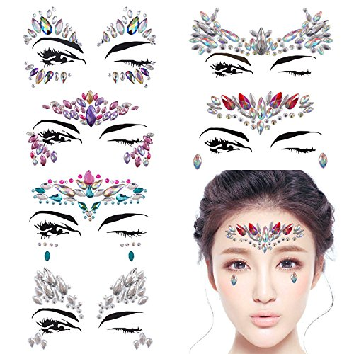 DaLin 6 Sets Mermaid Face Gems Rave Festival Face Jewels Stick On Crystals Bindi Rainbow Tears Rhinestone Temporary Tattoo Face Rocks Stickers (Collection 1) -