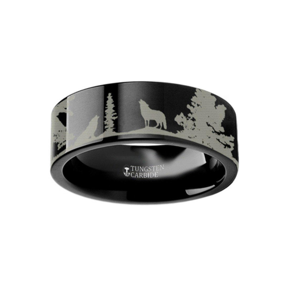 Thorsten Howling Wolf Animal Landscape Scene Wolves Ring Flat Black Tungsten Ring 6mm Wide Wedding Band from Roy Rose Jewelry