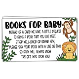 50 Safari Jungle Animals Books for Baby Shower Request Cards - Invitation Inserts - Gender Neutral