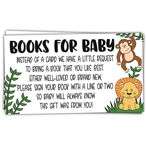 50 Safari Jungle Animals Books for Baby Shower Request Cards - Invitation Inserts - Gender Neutral -