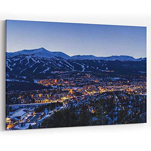 Breckenridge Colorado Winter Dusk Ski Runs Canvas Art Wall Dector,Modern Home Decor