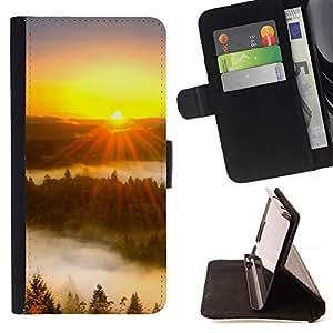 For HTC One M7 Case , Sunset Beautiful Nature 43- la tarjeta de Crédito Slots PU Funda de cuero Monedero caso cubierta de piel