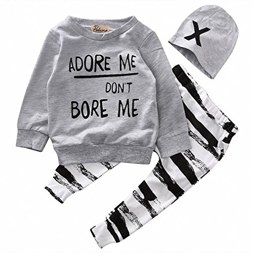 Price comparison product image Newborn Baby Boy Girls Clothes Long Sleeve Tops +Long Pants Hat 3PCS Outfits Set Gray 24M