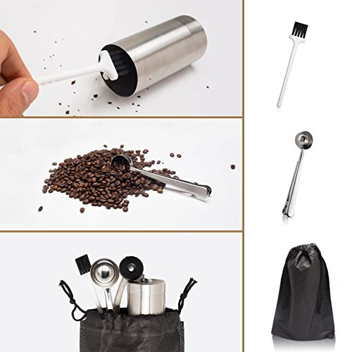 Stainless Steel Manual Coffee Grinder W/Ceramic Burr for Perfect Coffee Every Time - Quiet and Easy to Use, Perfect for Travel/Home - W/FREE Brush, Spoon, Pouch and E-book by PlatinHome by PlatinHome (Image #3)