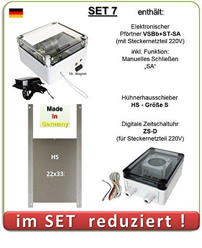 SET 7 - Pförtner mit Netzteil, Außenmontage, Zeitschaltuhr, manuelles Schließen, Hühnerklappe AXT-Electronic