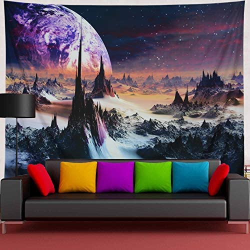 Amtoodopin Psychedelic Tapestry Planet and Mountains Tapestry 3D Galaxy Tapestries Stars Mystic Tapestry Space Landscape Tapestry Wall Hanging for Living Room Dorm Decor W92 H70, Planet Hills