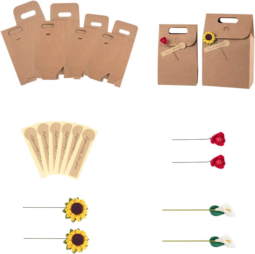 PandaHall 6 bolsas de papel kraft duro para regalo de la compra con 3 tipos de flores, caja de regalo minimalista decorativa paquete para empacar corbata/ropa/zapatos, 26 x 15,5 cm x 18,85 cm