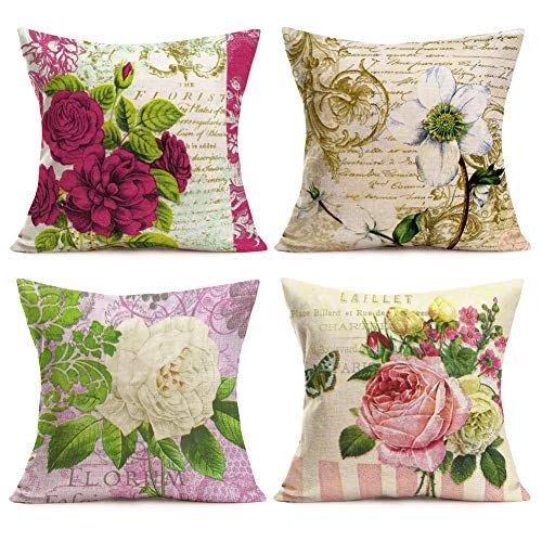 Aremetop 4 Pack Vintage Flower Throw Pillow Covers Floral Leaves Print Farmhouse Decorative Pillow Cases Cushion Cover Cotton Linen Burlap Toss Throw Pillow Covers 18''x18'' for Outdoor Decor