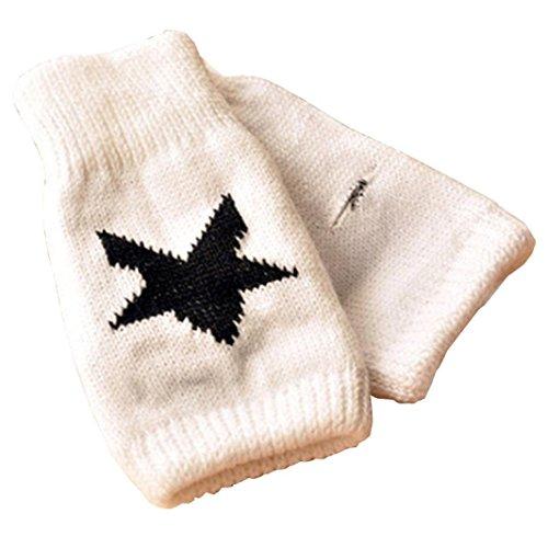 Guantes calientes para Mujeres,Ouneed ® Estrellas de invierno calentador impreso punto mitones brazo Fingerless guante Blanco