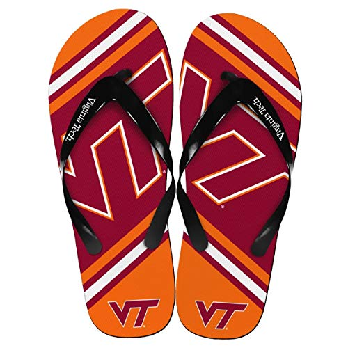 Forever Collectibles Virginia Tech Hokies Unisex Big Logo Flip Flops X-Small (W 5-6) Orange