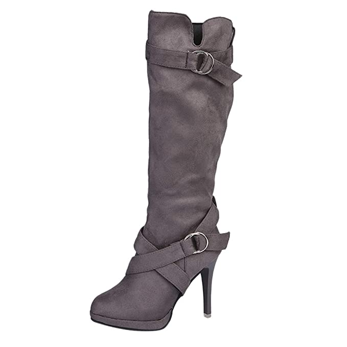 LILICAT✈✈ Cinturón con Hebilla Plataforma Estilete tacón Alto Botas elásticas Botas largas Zapatos de