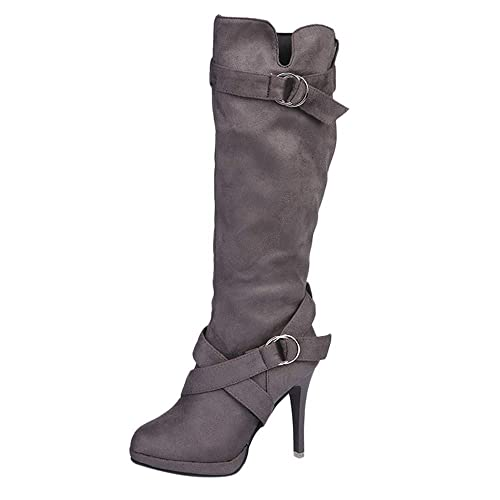 7d189bc6fa9bd FAMILIZO Botas Mujer Señoras Zapatos De Hebilla Roman Plataforma Tacones  Botas hasta La Rodilla Martin Botas Largas Otoño Botas Mujer Invierno   Amazon.es  ...