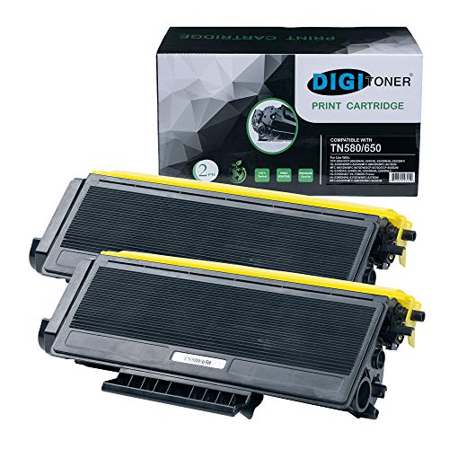 DIGITONER Compatible TN580 TN650 TN620 Toner Cartridge - TN-580 TN-650 TN-620 High Yield Toner Cartridge Replacement for Brother Laser Printer - Black [2 Pack]
