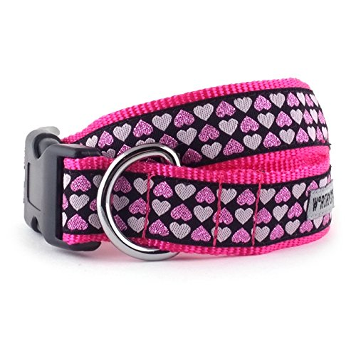 The Worthy Dog   Hearts   Adjustable Designer Pet Dog Collar , Black, M