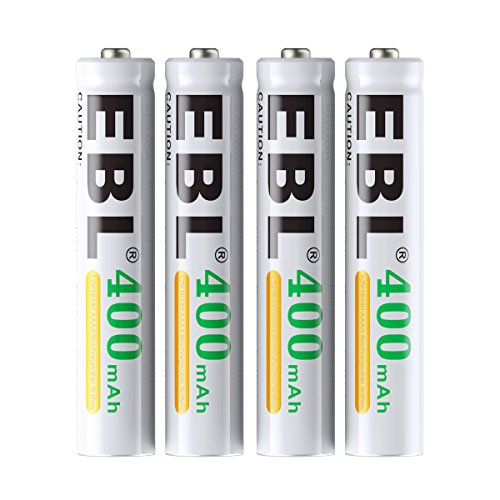 EBL AAAA Batteries, 1.2V 400mAh Ni-MH AAAA Rechargeable Batteries for Surface Pen, 4-Pack (4a Batteries)