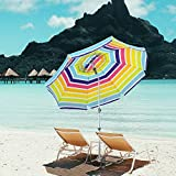 Snail 7 ft Beach Umbrella, Built in Sand Anchor with Tilt Aluminum Pole, Portable Sun ray Protection Beach Umbrella with Carry Bag for Outdoor Patio,Mulit-Color