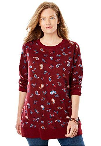 Paisley Hoody Sweatshirt - Women's Plus Size French Terry Sweatshirt Rich Burgundy Playful Paisley,3X