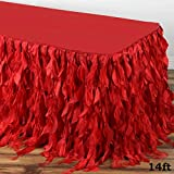 Efavormart 14ft Enchanting Curly Willow Taffeta Table Skirt for Kitchen Dining Catering Wedding Birthday Party Events - Red