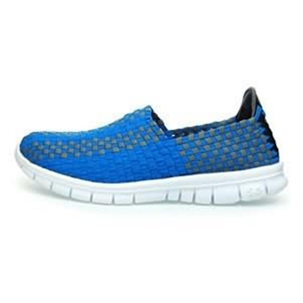 Herrenmode Splice Sportschuhe Streifen Muster Slip on Splice Herrenmode Vamp Freizeit Sneaker Blau 46c059