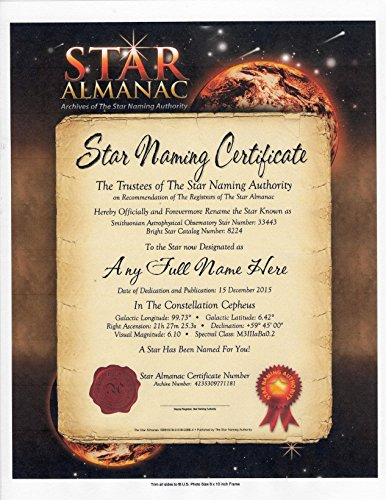 OFFICIAL NAME A STAR ALMANAC CERTIFICATE REGISTRATION AGENT - Dedicate A Star To Someone Special - A Great Personalized Keepsake, With Published Online Web Site