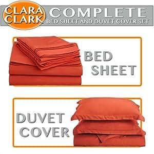Clara Clark Complete 7 Piece Bed Sheet and Duvet Cover Set, Queen Size, Orange