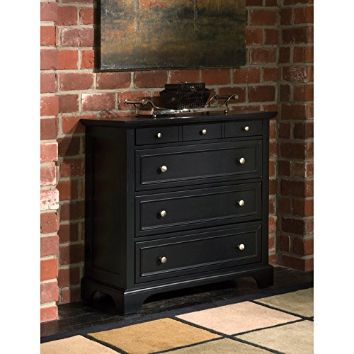 36' Black Vanity - 4-Drawer Chest, Contemporary Style, Contrasting Pull Knobs, Poplar Hardwood and Engineered Wood Construction, Stylishly Raised Bottom, Flat Top Surface, Rich Ebony Multi-Step Finish + Expert Guide