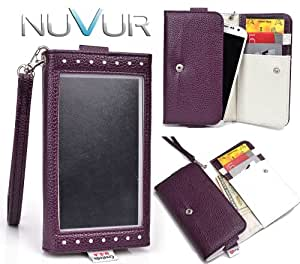 """Purple """"Exposed"""" Cover Wallet Phone Case Fits Icemobile Galaxy Prime Plus + NuVur ™ Key Chain *ESMLEXU1*"""