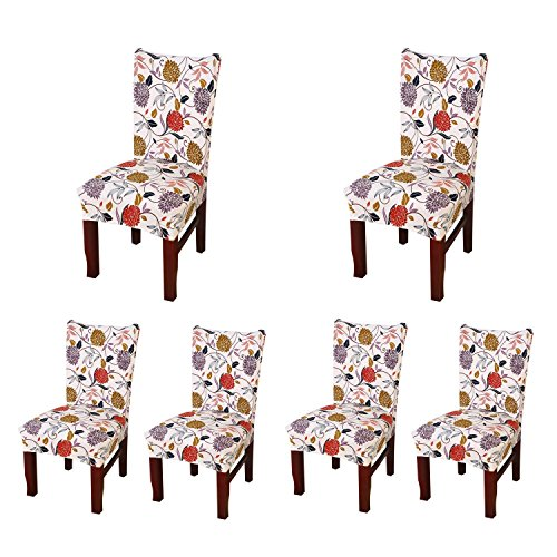 SoulFeel Set of 6 x Stretchable Dining Chair Covers Spandex Chair Seat Protector Slipcovers for Holiday Banquet Home Party Hotel Wedding Ceremony Style 35 Floral