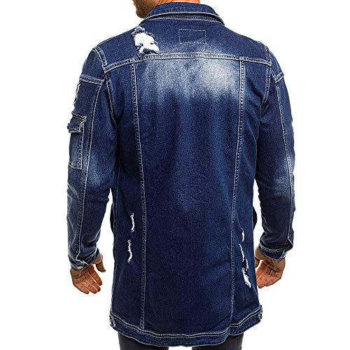 Denim Distressed Autumn UJUNAOR Vintage Fashion Dark Top Winter Wash Men's Casual Blouse Jacket Coat Blue BBqw8