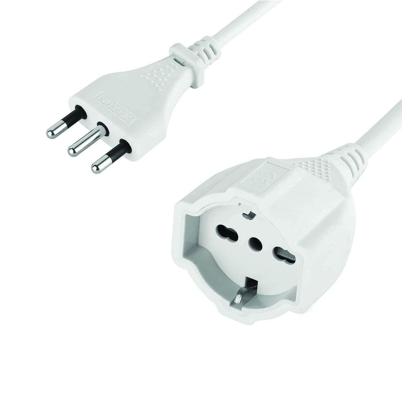 Z/ócalo Universal 10 M Enchufe 16 A Extensi/ón Sp Ita//Pr Schuko Bivalente Electraline 46126 Cable 3X15 Mm Blanco